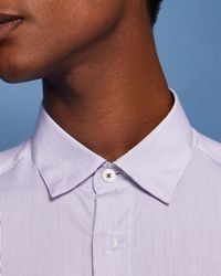 Ted Baker - Striped Placket Cotton Shirt - Lyst