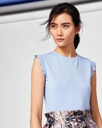Ted Baker - Scallop Detail Fitted T-shirt - Lyst