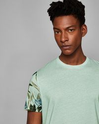 Ted Baker - Floral Sleeve Print T-shirt - Lyst