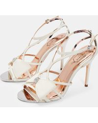 c2461246c Lyst - Ted Baker Cimaa Leather Barely There Heeled Sandals in White