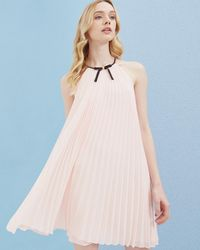 Ted Baker - Bow Detail Pleated Dress - Lyst