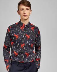 Ted Baker - Parrot Print Cotton Shirt - Lyst
