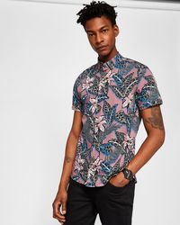 Ted Baker - Tropical Floral Cotton Shirt - Lyst