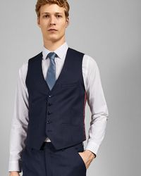 3d0f5c788 Ted Baker Checked Wool Waistcoat in Gray for Men - Lyst