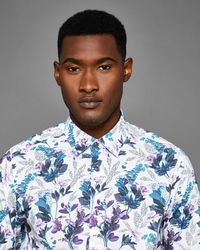 Ted Baker - Fashion Fit Floral Print Cotton Shirt - Lyst