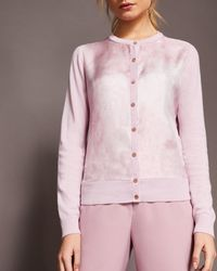 Ted Baker - Silk Front Cashmere Cardigan - Lyst