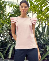 Ted Baker - Frill Shoulder Cotton Top - Lyst