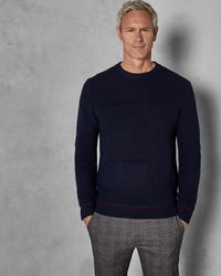 Ted Baker - Tall Chunky Textured Wool Crew Neck - Lyst