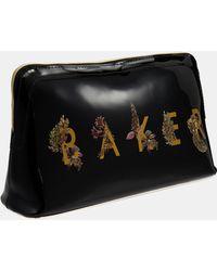 bdaebbc65 Ted Baker Teekee Striped Leather Wash Bag in Brown - Lyst
