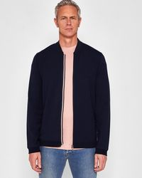 80ad39a1228856 Lyst - Ted Baker Quilted Herringbone Bomber Jacket in Purple for Men