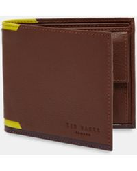 Ted Baker - Leather Bi-fold Wallet With Corner Detail - Lyst