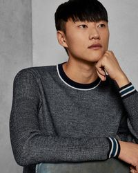 Ted Baker - Striped Trim Wool Sweater - Lyst