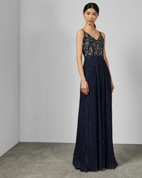 a94d64b54 Ted Baker - Embellished Pleated Maxi Dress - Lyst