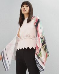 Ted Baker - Painted Posie Silk Cape Scarf - Lyst