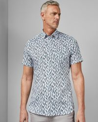Ted Baker - Tall Cotton Printed Short Sleeved Shirt - Lyst