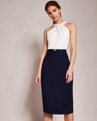Ted Baker - Twist Neck Belted Pencil Dress - Lyst