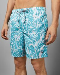 Ted Baker Abstract Leaf Print Swim Shorts