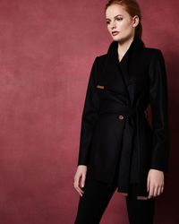Ted Baker - Short Cashmere-blend Wrap Coat - Lyst