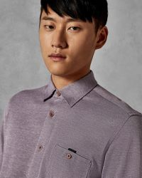 Ted Baker Cotton Jersey Shirt - Purple