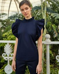 Ted Baker - Frilled Sleeve High Neck Cotton Top - Lyst