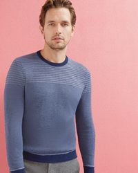 Ted Baker - Striped Crew Neck Jumper - Lyst