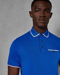 2d71dba4ee2c01 David Jones · Ted Baker - Flat Knit Collar Cotton Polo Shirt - Lyst