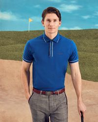 Ted Baker - Playgo Striped Trim Polo Shirt - Lyst