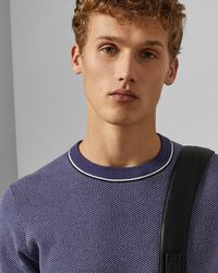 Ted Baker - Long Sleeved Cotton Crew Neck Jumper - Lyst