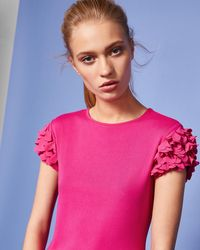 Ted Baker - Floral Applique Sleeve T-shirt - Lyst