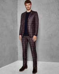 Ted Baker - Global Check Slim Suit Trousers - Lyst
