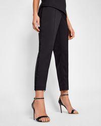 0d7265edb Ted Baker Women s Carlaa Pearl Detail Slim-fit Trousers in Black - Lyst