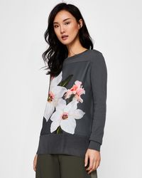 Ted Baker - Chatsworth Bloom Woven Front Jumper - Lyst