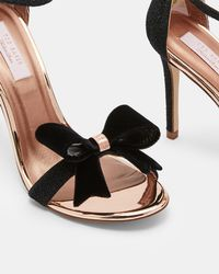 Ted Baker - Lurex Oversized Bow Sandals - Lyst