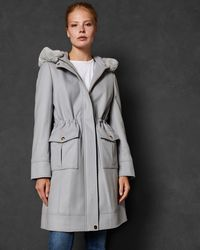 Ted Baker - Faux Fur Hooded Wool Parka - Lyst