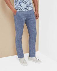 Ted Baker - Crosshatch Linen-blend Trousers - Lyst