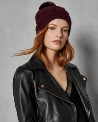 Ted Baker - Cable Knit Wool Blend Pom Pom Hat - Lyst
