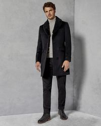 Ted Baker - Removable Shearling Collar Overcoat - Lyst