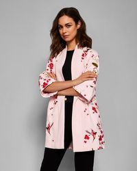 ea8d0d94b Ted Baker - Soft Blossom Embroidered Kimono Coat - Lyst