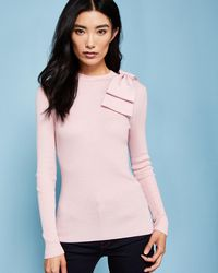 Ted Baker - Bow Detail Ribbed Jumper - Lyst