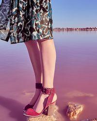 7ff6adec960 River Island White Stripe Caroline Flack Block Heel Sandal in White ...
