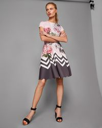Ted Baker - Palace Gardens Scalloped Skater Dress - Lyst