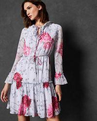 c55237aaf1 Ted Baker Babylon Pleated Skirt Dress in Gray - Lyst