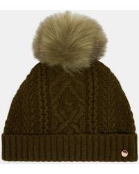 Ted Baker - Cable Knit Wool-blend Bobble Hat - Lyst