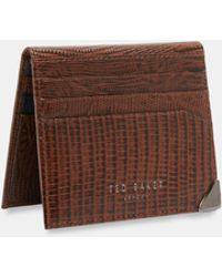 Ted Baker - Lizard-effect Bi-fold Leather Card Holder - Lyst