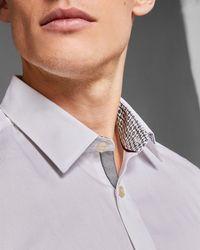 Ted Baker - Tonal Geo Print Cotton Shirt - Lyst