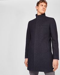 Ted Baker - Funnel Neck Textured Coat - Lyst