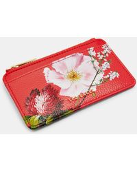 306c33fb7e3 Ted Baker Lori Textured Zipped Credit Card Holder in Red - Lyst