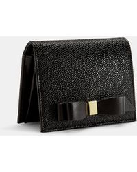 Ted Baker - Small Leather Bow Poppered Purse - Lyst