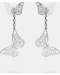 Ted Baker - Double Butterfly Sterling Silver Drop Earrings - Lyst