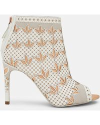 Ted Baker - Laser Cut Leather Heeled Ankle Boots - Lyst